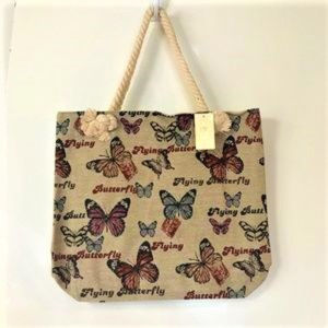 Handbags - BUTTERFLY DESIGN TAPESTRY TOTE BAG